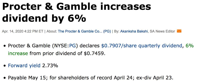 Procter & Gamble Dividende